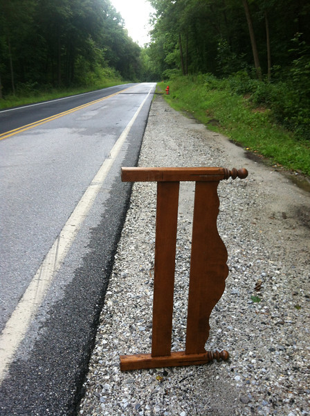 7/1/2013: Footboard of a bed dumped on the side of Race Road in Howard County. Deep Run is less than 100 feet from the road at this spot, about 250 yards north of Hanover Road.