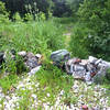 7/2/2013: Chunks of concrete dumped on the shoulder of Hammonds Ferry Road in Baltimore County, just north of the Patapsco River, and put to good use as barricade material to deter dirt bikers and ATV riders from entering parkland at this location.