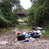 10/12/2013: Mostly clothing and household goods dumped at the park access road off Route 1 in Baltimore County. Right next to the Patapsco River bridge over Route 1 and the I-895 onramp is in the background. About 125 lbs total.