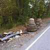 10/9/2013: Nursery Road in Linthicum behind G&M Restaurant. 2 tractor trailer tires on rim, 5 lt truck tires, 6 car tires (1 rim), misc auto bumpers, buckets, cans, bottles, styrofoam pieces,