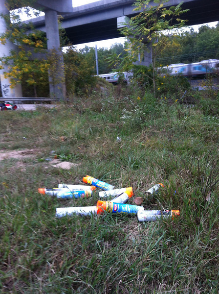 Dumped paint cans at a job site along Furnace Avenue in AA Co. All collected from the immediate area.