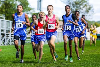 Sam Wood (69) the eventual winner; Isaiah Harris (21); #13 collapsed before the finish; Farhan Abdillahi (12); Nathan MacKenzie (60) finished 5th.