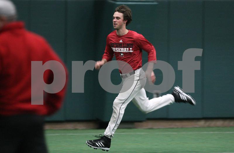 Kyle Bursaw – kbursaw@shawmedia.com<br /> <br /> Northern Illinois University baseball player Brian Sisler runs during practice at the DeKalb Recreation Center on Wednesday, March 6, 2013.