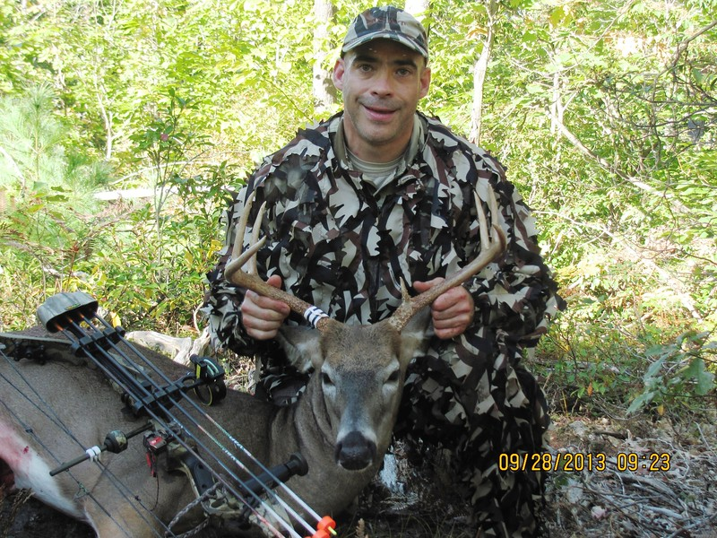 First Bow Buck! 8 points, 157 lbs, my old Darton Maverick bow, VAP arrow, 125gr Montec BH, FOB, Ripcord Code Red rest, ASAT camo.