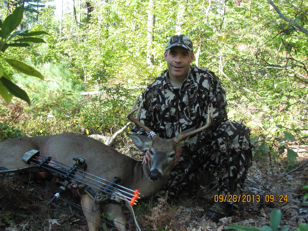 First Bow Buck! 8 points, 157 lbs, my old Darton Maverick bow, VAP arrow, 125gr Montec BH, FOB, Ripcord Code Red rest, ASAT camo.