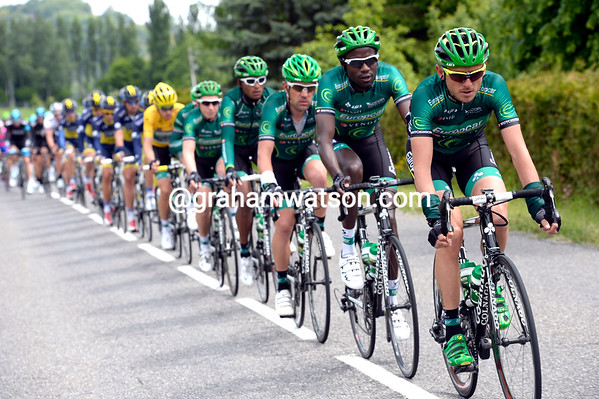 Europcar is still pulling their race-leader and the peloton along...