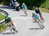 Voeckler leads three co-escapees down towards Grenoble - they've kept a one-minute lead too...
