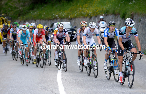 Sylvain Chavanel leads the 25-man escape on to the mythical Alpe d'Huez climb, just 50-kilometres into the stage...