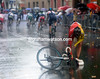 Bagdonas picks himself up from a fall on the slippery streets of Florence...