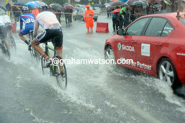 Many of the roads are flooded, making the racing difficult at such high speeds...