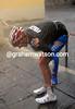 Ivan Santaromita is the next to crash - he's hurt but recovers for Team Italia...