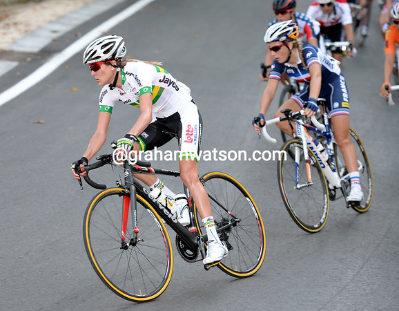 Carlee Taylor leads the race down the main descent on the second lap...