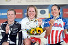 Ellen Van Dijk celebrates on the podium with Linda Villumsen and Carmin Small