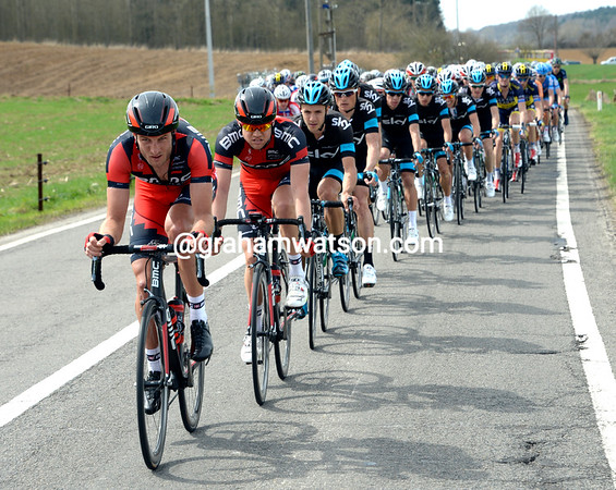 Steve Cummings is keeping BMC's colours at the front - this could be Philippe Gilbert's big day..!