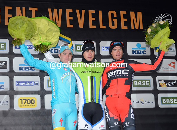 Peter Sagan celebrates winning his first Classic with Bozic and Van Avermaet at the end of a very cold but very exciting day!