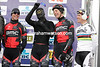 BMC's Philippe Gilbert and Taylor Phinney can't resist entertaining the fans at the start...