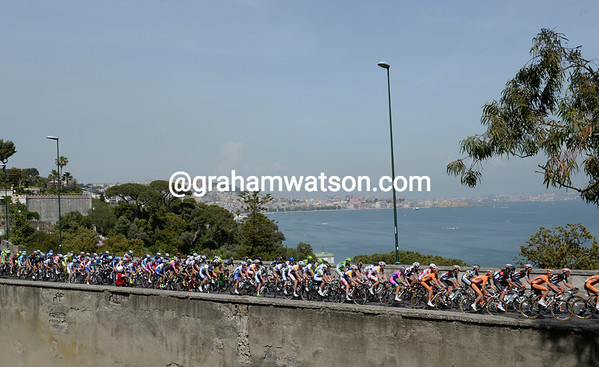 The peloton saunters up the day's only climb a few minutes back - but it's a climb they'll make four times in all...