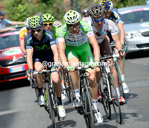 Marco Canola is leading the Giro's first escape away after just 10-minutes of racing...
