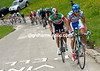 Franco Pellizotti has atatcked with teamate Diego Rosa...