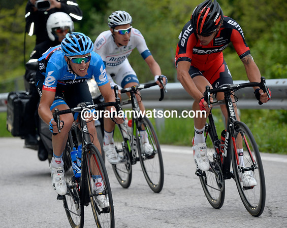 Gretsch has been gobbled up by Navardauskas and Daniel Oss with about 30-kilometres to go...