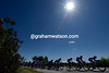 The peloton is again in full flow under clear skies and a sparkling sun...