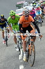 Sammy Sanchez launches an attack, chased by Damiano Caruso...