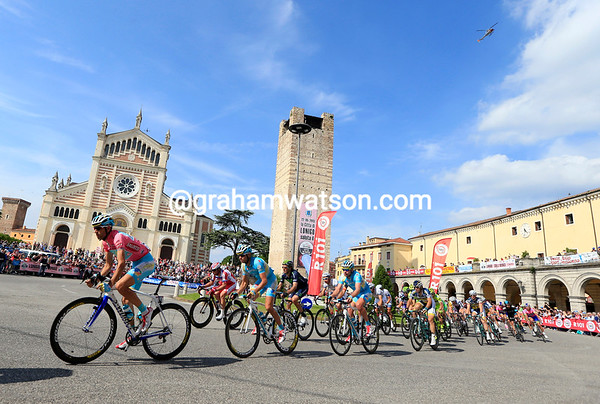 Nibali is at the head of the peloton as it speeds through Lonigo after 160-kilometres...