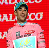 Vincenzo Nibali cannot stop smiling at Visconti's second-stage win and his own success as race-leader...