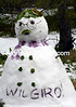 A snowman greets the Giro at the foot of the Tre Croce climb...