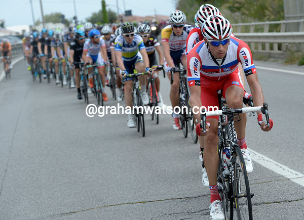 Katusha are the ones driving the chase along...