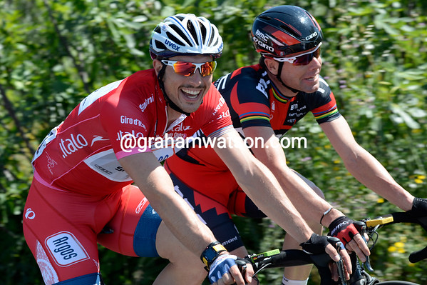 Be aware of men wearing red - John Degenkolb chats with his mate, Cadel Evans...