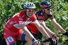 Be aware of men wearing red - John Degenkolb chats with his mate, Cadel Evans...