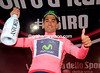 Benat Intxausti celebrates taking the Maglia Rosa..!