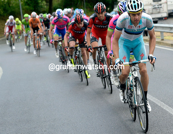 Tangert is chasing for Nibali - but in fact they are trying to hurt Wiggins before the final climb of the day...