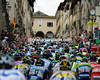 The peloton hits the 'wall' of Anghiari after just five-kilometres..!