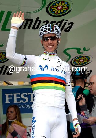 And it's a big hello to the new World Champion, Alberto Rui Costa...