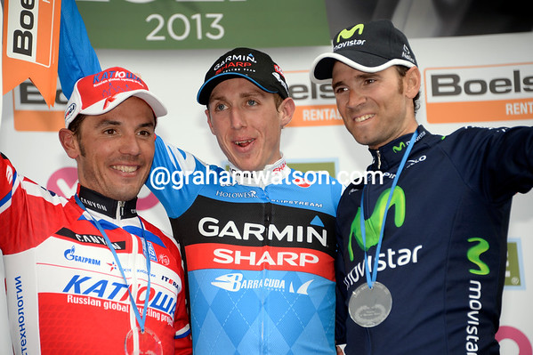 Dan Martin stands above Rodriguez and Valverde after his greatest moment in cycling - what a sweet day..!