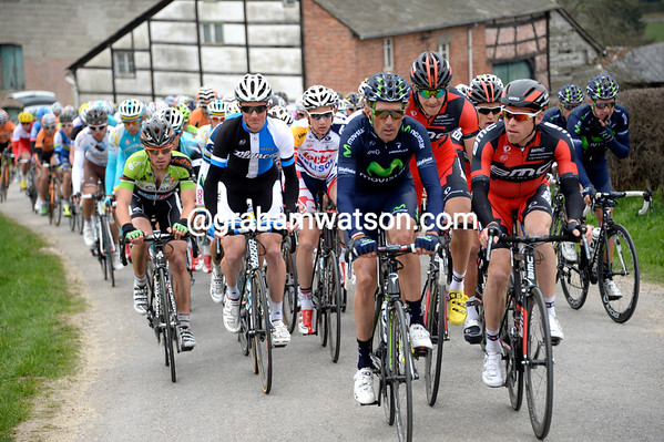 Pablo Lastras and Brent Bookwalter lead the chase on the Cote de Wanne...