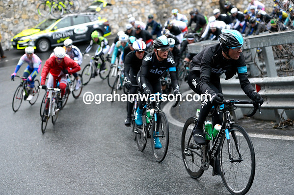 Team Sky starts to dictate the race on the irst of three 'Capi' in the last 60-kilometres...