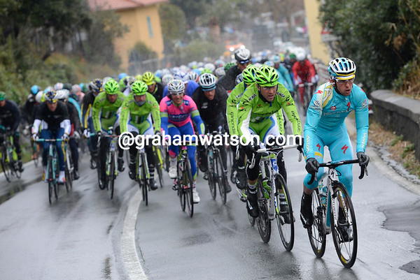 Astana assumes control of the frozen peloton - there are still 120-kilometres to race...
