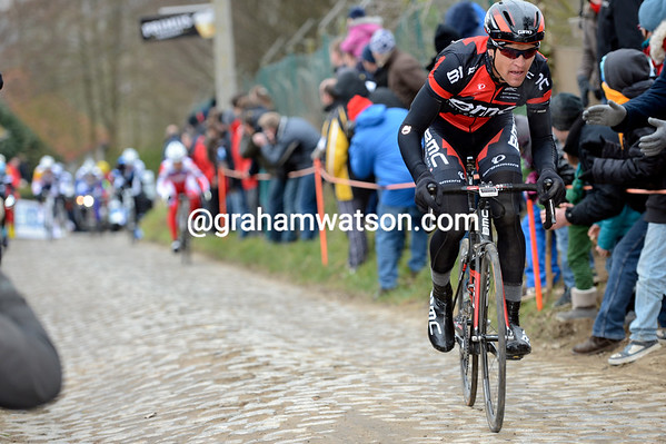 Greg Van Avermaet attacks the chasing group on the Molenberg...