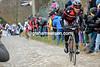 Greg Van Avermaet attacks the chasing group on the Molenberg...
