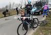 Geraint Thomas has fallen as well, he looks dazed as his mechanic gets the bike ready...