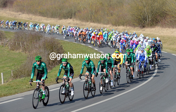 Europcar lead a strung-out peloton through a region of France they call Yvelines...