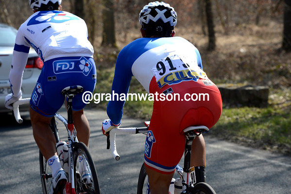 The Champion of France, Nacer Bouhanni, is the only rider wearing a one-piece skinsuit today - he must mean business..!