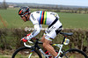 Philippe Gilbert has missed the crashes but been delayed by them - he sprints back with amazing speed into the wind..!