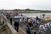 The peloton crosses the Loire river at Gien...