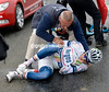 Yann Huguet has also crashed heavily...