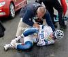 Yann Huguet has also crashed heavily...