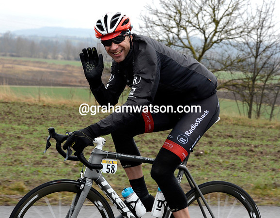 Jens Voigt is one of the few cyclists actually smiling in these conditions...